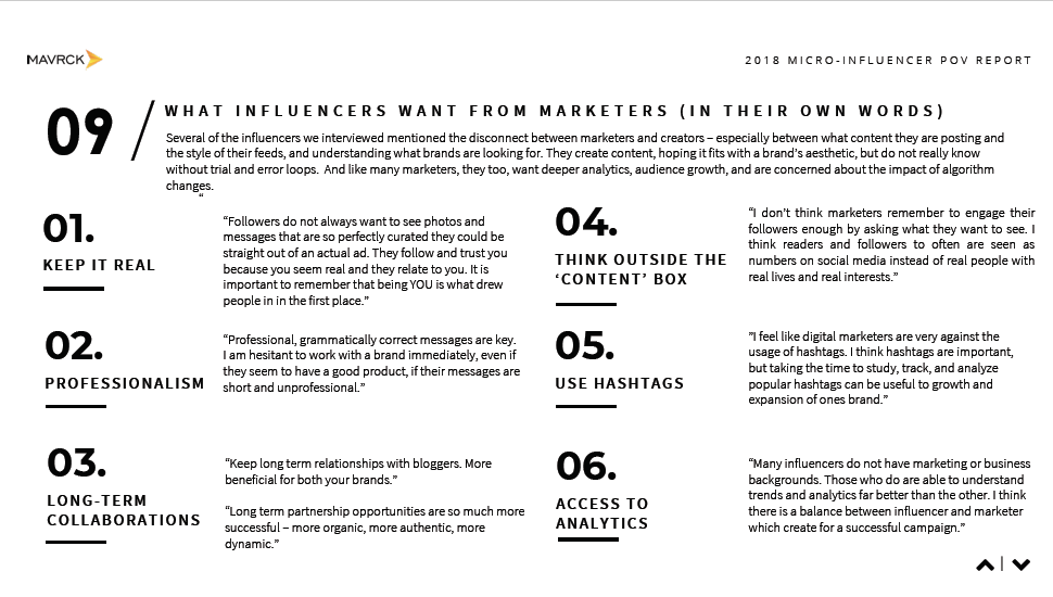 what influencers want from marketers